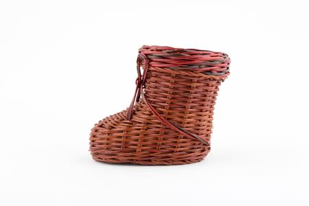 wicker: zapato de mimbre decorativo