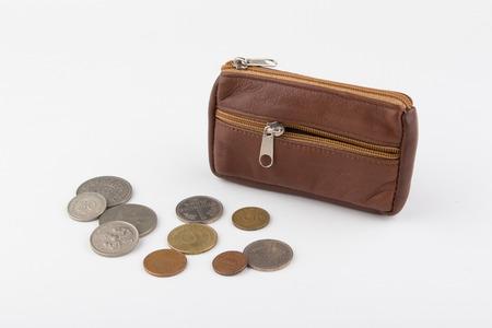monedas antiguas: bolso y monedas antiguas Foto de archivo