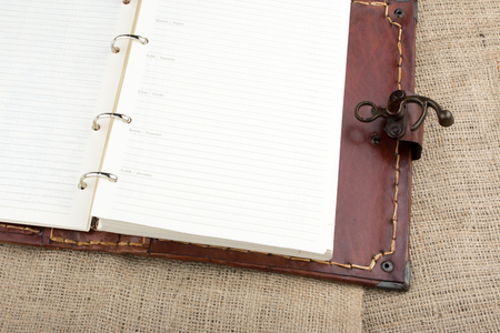 seamy: brown leather cover organizer calendar
