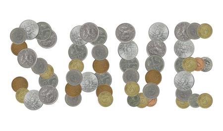 monete antiche: SAVE parola con monete antiche Archivio Fotografico