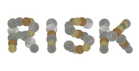 monedas antiguas: riesgo de palabra con monedas antiguas Foto de archivo