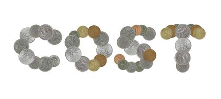 monete antiche: parola COSTO con le vecchie monete Archivio Fotografico