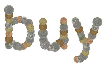 monedas antiguas: comprar palabras con las monedas viejas Foto de archivo