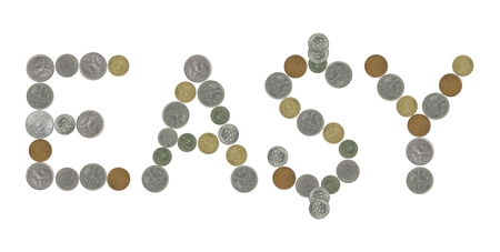 lier: EASY word with old coins Stock Photo