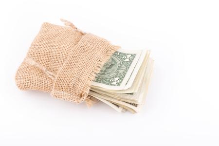dolar: dinero en el saco Foto de archivo