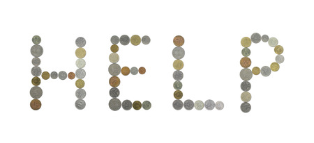 monete antiche: parola HELP con le vecchie monete