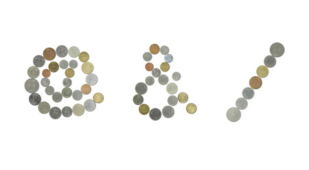old sign: At sign, ampersand sign with old coins and slash