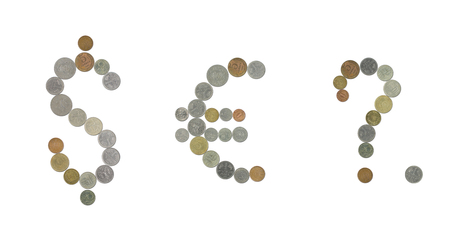 euro sign: Dollar sign, euro sign, question mark and pointer with coins