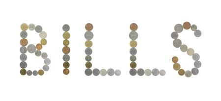 monedas antiguas: FACTURAS palabra con monedas antiguas Foto de archivo