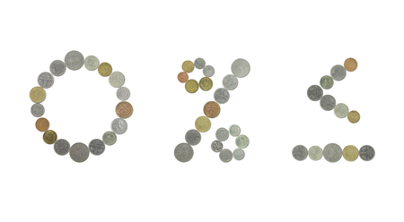 minus sign: number 0 percent sign, sign and minus sign less with old coins