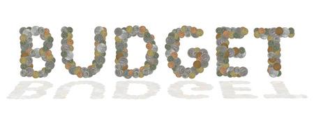 monete antiche: parola BUDGET con le vecchie monete