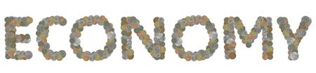 monete antiche: parola ECONOMY con le vecchie monete Archivio Fotografico