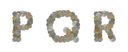 monete antiche: Alfabeto con le vecchie monete Archivio Fotografico