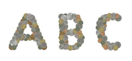 monedas antiguas: Alfabeto con las monedas viejas Foto de archivo
