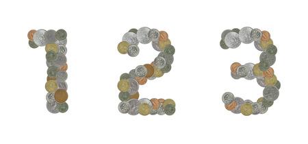 monedas antiguas: Los n�meros con monedas antiguas