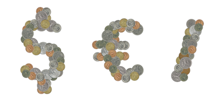 euro sign: Dollar sign, euro sign and slash sign with old coins