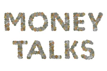 conversaciones: Las negociaciones del dinero palabra con monedas antiguas Foto de archivo