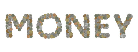 monedas antiguas: palabra dinero con las monedas viejas