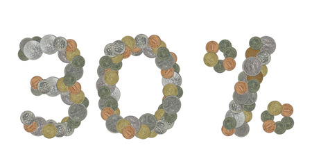30: 30 percent with old coins Stock Photo
