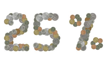 monete antiche: Il 25 per cento con le vecchie monete Archivio Fotografico