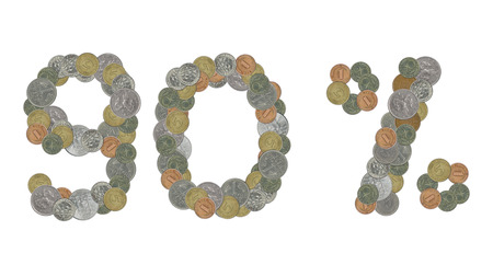 monedas antiguas: 90 por ciento con las monedas viejas Foto de archivo