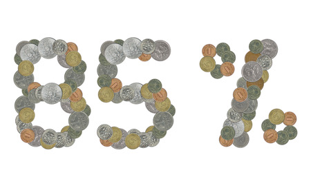 monete antiche: 85 per cento con le vecchie monete Archivio Fotografico