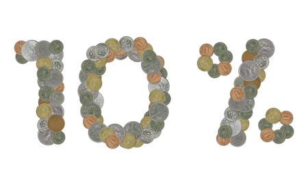 monete antiche: Dieci per cento con le vecchie monete Archivio Fotografico