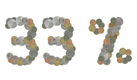 monete antiche: Il 33 per cento con le vecchie monete Archivio Fotografico