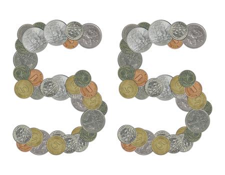 monedas antiguas: n�mero 55 con monedas antiguas Foto de archivo