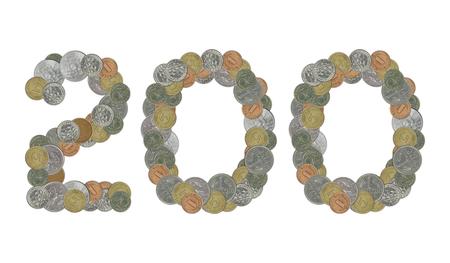 monete antiche: Numero 200 con le vecchie monete