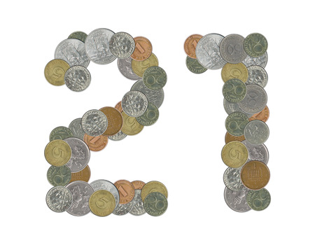 21: number 21 with old coins