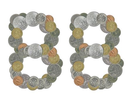 monedas antiguas: el n�mero 88 con las monedas viejas Foto de archivo