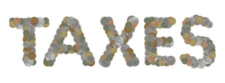monete antiche: parola TASSE con le vecchie monete Archivio Fotografico