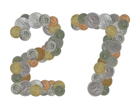 monedas antiguas: n�mero 27 con monedas antiguas Foto de archivo