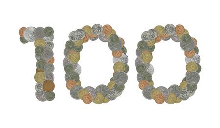 monedas antiguas: N�mero 100 con monedas antiguas Foto de archivo
