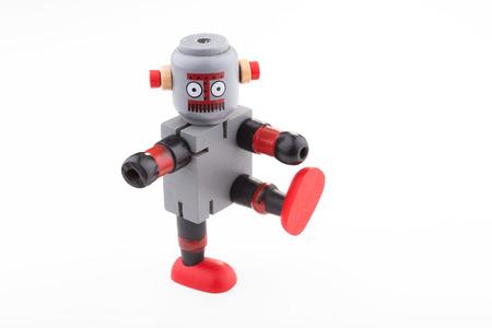 Robot standing one leg Stock Photo