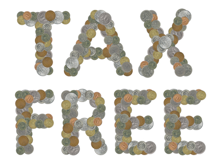 monete antiche: TAX FREE word with Old Coins Archivio Fotografico