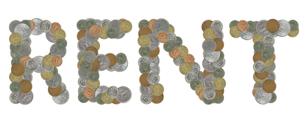 RENT word with old coins Stock Photo