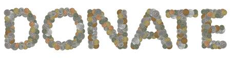 monete antiche: DONARE parola con le vecchie monete Archivio Fotografico