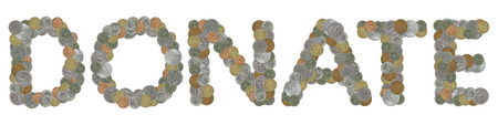 monedas antiguas: DONATE word with Old Coins