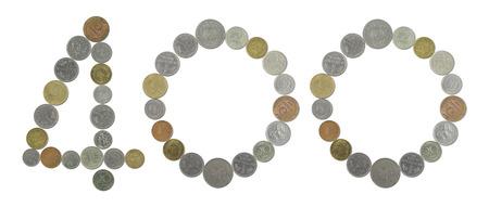 monete antiche: numero 400 con le vecchie monete Archivio Fotografico