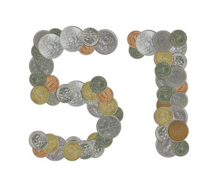 monete antiche: Numero 51 con le vecchie monete Archivio Fotografico