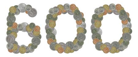 monete antiche: Numero 600 con le vecchie monete Archivio Fotografico
