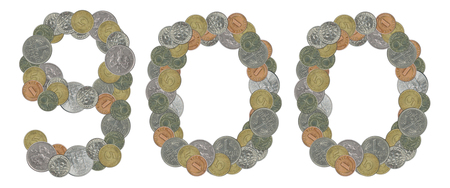 monete antiche: Number 900 with old coins Archivio Fotografico