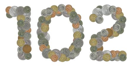 monete antiche: Numero 102 con le vecchie monete