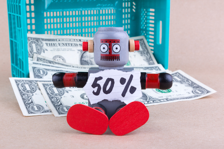 Fifty percent  word with sitting robot