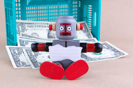 blank notepaper with sitting robot