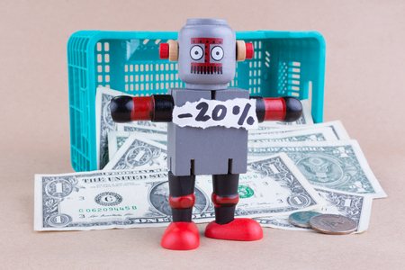 twenty percent off word with standing robot