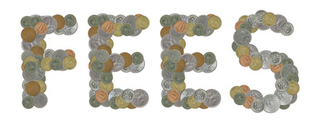 FEES word with old coins
