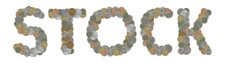 STOCK word with Old Coins Stock Photo